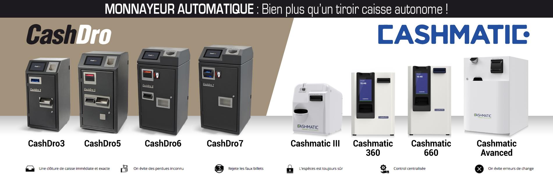 monnayeurs automatiques CashDro et CashMatic sur www.point2vente.com